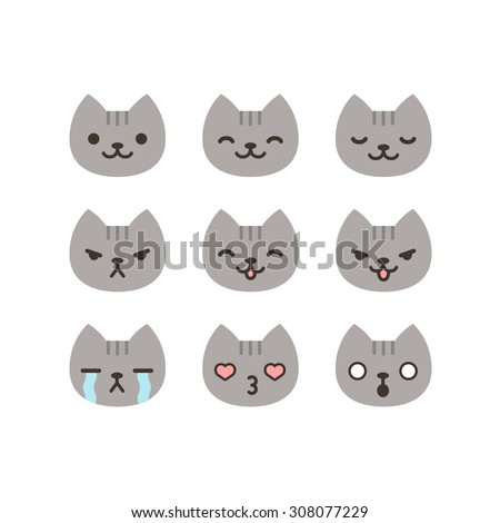 set of cat emoticons in simple