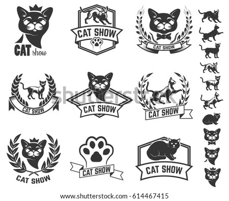 set of cat show labels isolated