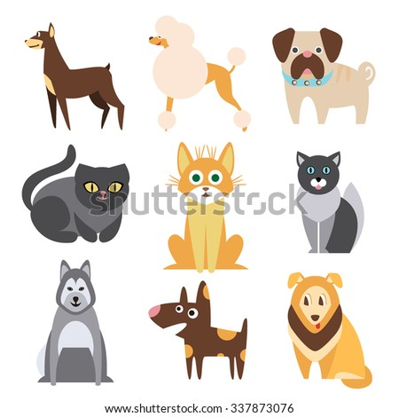 set of cats and dogs of