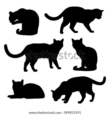 set of cats silhouettes on a