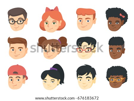 Set of Caucasian, African and Asian kids faces with smile. Emoji cartoons with kids smiley heads isolated on white background. Vector cartoon illustration.
