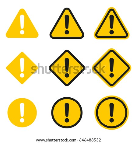 Set of caution icons. Caution sign. Vector