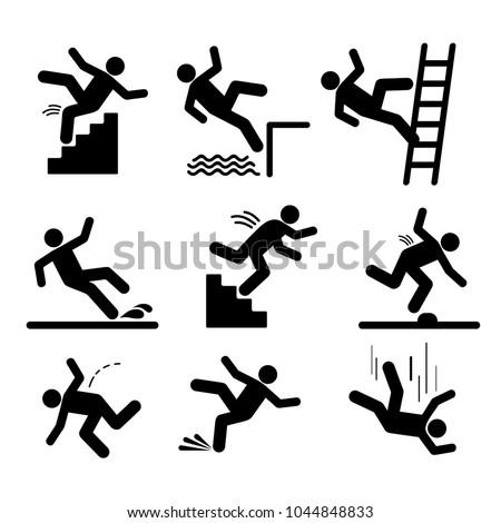 set of caution symbols with