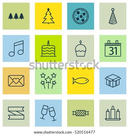 set of 16 celebration icons