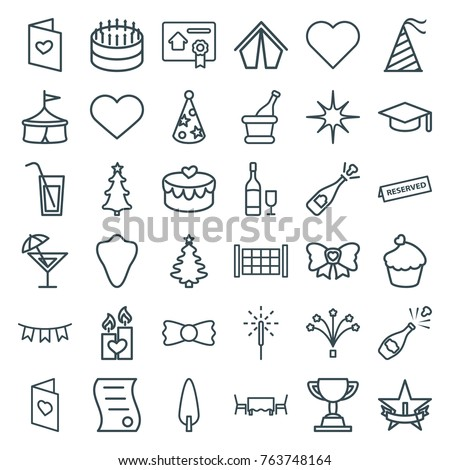 Shutterstock Set of 36 celebration outline icons such as fence, animal fang, bow tie, heart, graduation hat, cake, opened champagne, circus, christmas tree, tent, pine-tree, love letter