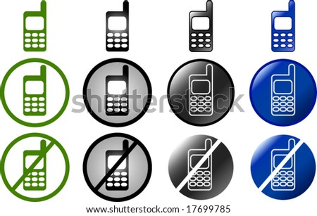 set of cell phone buttons and symbols