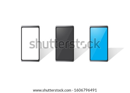 Set of Cell phone project : Black Screen, Blue Screen and blank screen mock up smartphone.