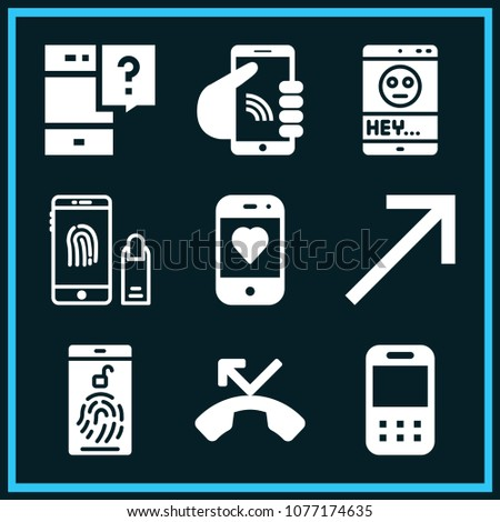 set of 9 cellphone filled icons