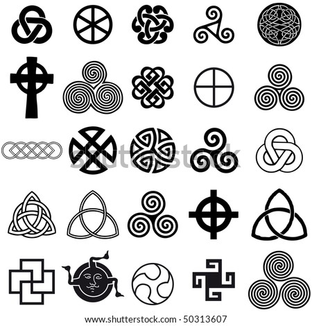 stock vector : Set of Celtic symbols icons vector. Tattoo design set.