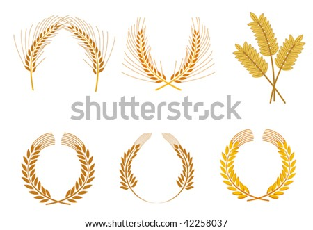 Set of cereal wreaths as an agriculture concept or logo template. Jpeg version also available