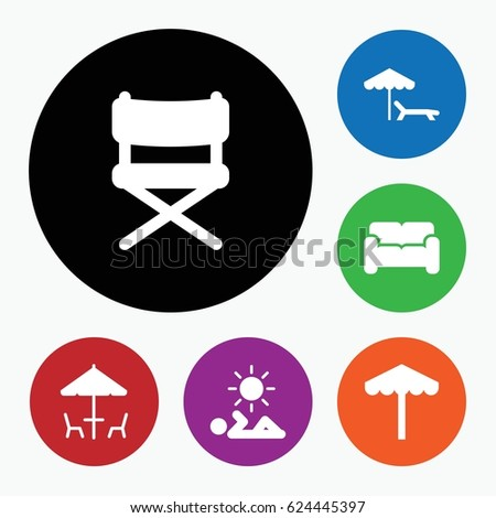 set of 6 chair filled icons