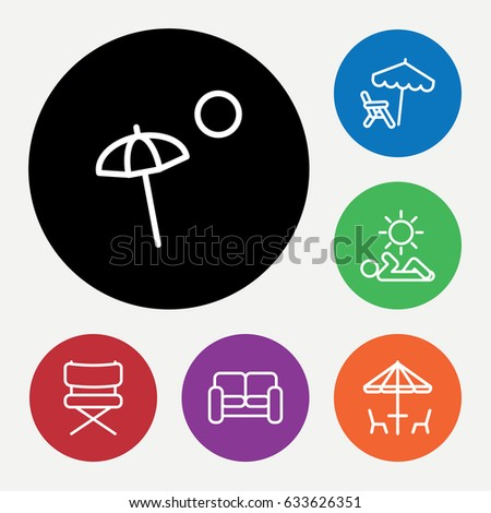 set of 6 chair outline icons