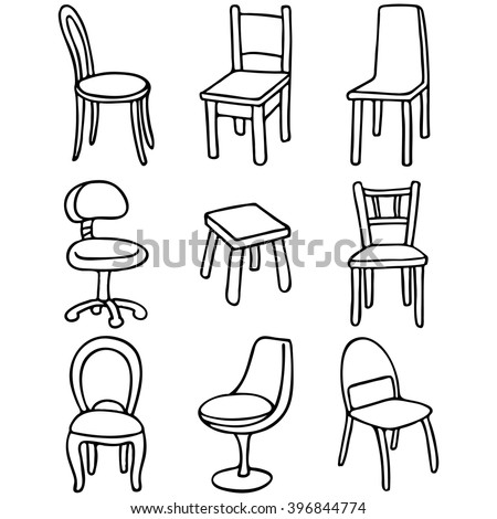 set of chairs set of simple line drawings 396844774