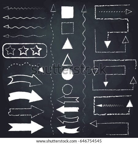 Set of chalk arrows and symbols. Hand drawn illustration. Chalkboard background.