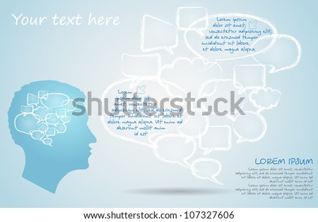 Set of chalk drawing bubble speech and silhouette of the men