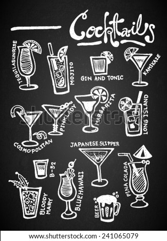 Set of chalk hand drawing Cocktails on blackboard