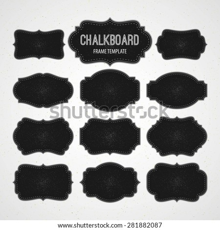 Set of Chalkboard Frames and Labels. Vector illustration EPS 10