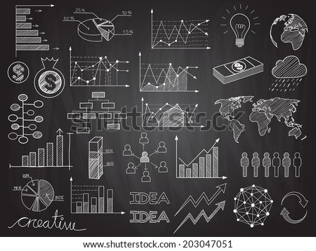 Set of chalkboard info graphics and business doodles.