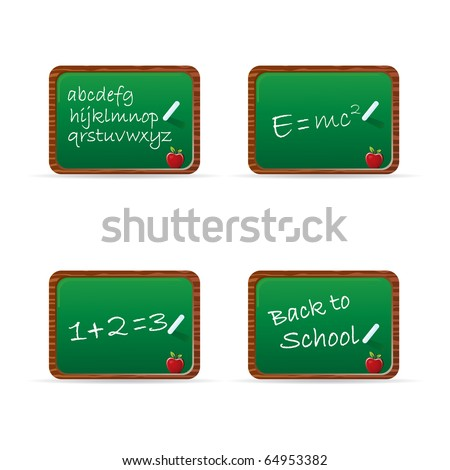 Set of chalkboards with common phrases