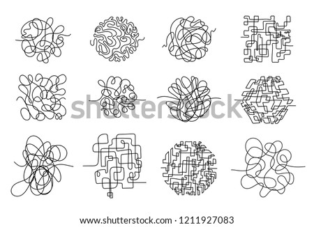 Set of chaos lines. Hand drawing tangled clew. Insane scribble lines or confused brain doodle scribbles symbols. Vector illustration. Isolated on white background.