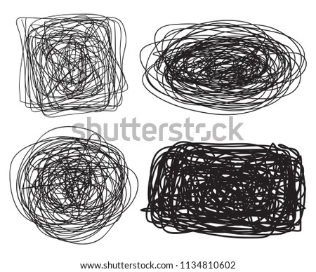 Set of chaos patterns. Intricate  texture. Chaotic tangled stripes. Background with lines and waves. Art creation. Hand drawn dinamic scrawls. Black and white illustration