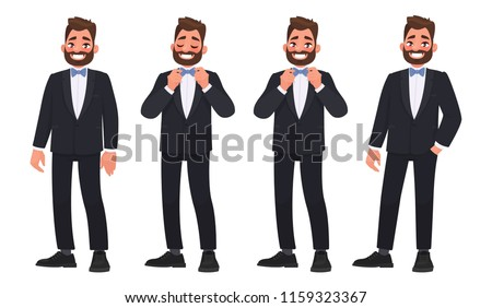 Set of character a bearded man in a business suit with a bow tie. The groom.  Vector illustration in a cartoon style