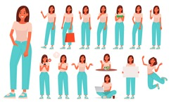 Set of character a young woman in casual wear. Girl with various poses and gestures, is engaged in everyday activities. Shopping, sports, eating, work. Vector illustration in a flat style