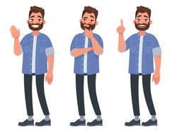 Set of character bearded man greets , thinks and finds a solution. Vector illustration in cartoon style