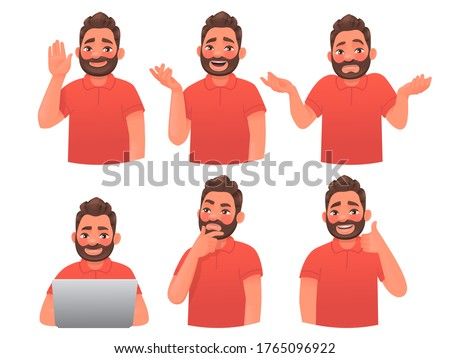 Set of character bearded man with different gestures and emotions. Greeting, conversation, doubt, guy with a laptop, thinks, approval. Company employee or consultant. Vector illustration cartoon style