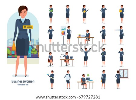 Set of character businesswoman in office work situations. Young clerk in formal wear. Different poses and emotions, gestures, actions. Illustration isolated in cartoon style front and rear view