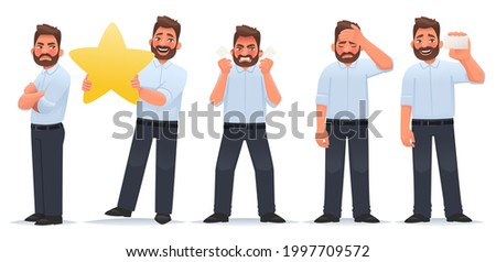 Set of character man. A businessman with a feeling of envy, with a star and evaluates the work, an angry guy, tired, shows a business card. Vector illustration in cartoon style