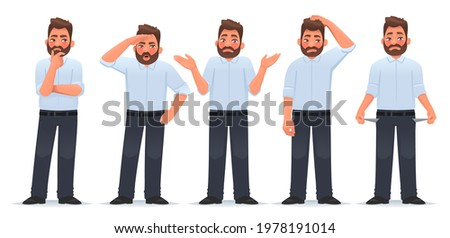 Set of character man in different actions. The businessman thinks, searches, shrugs, doubts, shows empty pockets. Financial difficulties. Vector illustration in cartoon style