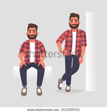 Set of character man in two poses. The guy is sitting and he leaning on the wall. Vector illustration in cartoon style
