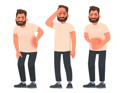 Set of character men with pain in different parts of the body. Backache, abdominal pain, headache, migraine. Vector illustration in cartoon style