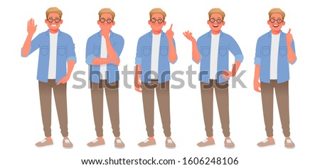 Set of character of a young man with various gestures. The guy welcomes, thinks, finds a solution, speaks and approves. Person for your project. Vector illustration in cartoon style