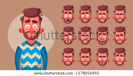 Set of character's emotions. Cartoon vector illustration. Male facial emotions. Emoji with different expressions.