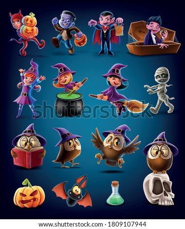set of characters and icons for halloween