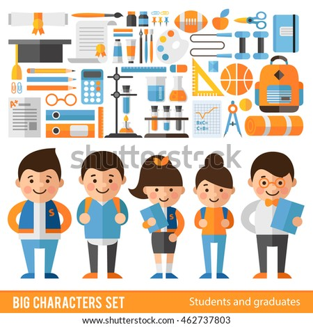 Set of characters and icons on education theme. Characters and objects back to school.