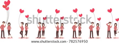 Stock Photo Set of characters cartoon cute couple of lover for valentine's day, holidays of love flat decorative elements with young women and men, romance, hearts, heart balloons of love,vector illustration