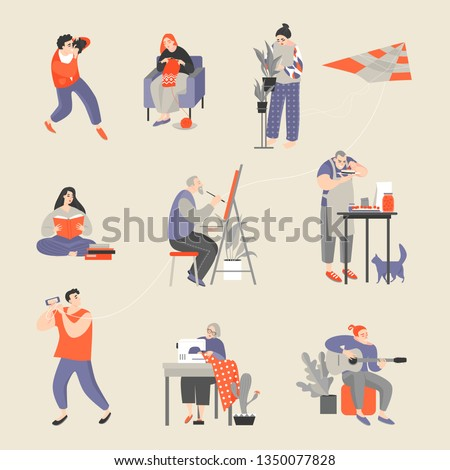Set of characters engaged in their hobbies. Men and women taking pictures, knitting, floriculture, reading, painting, cooking, flying a kite, sewing and playing guitar. Vector cartoon illustration
