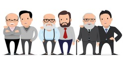 set of characters fathers and their adult children. Elderly father and adult son together. Vector illustration. flat style