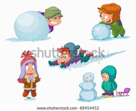 set of characters funny kids  in winter