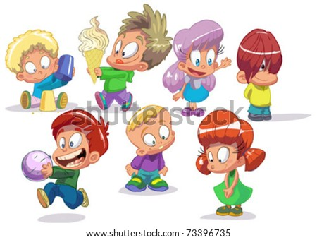 set of characters funny kids on a white background