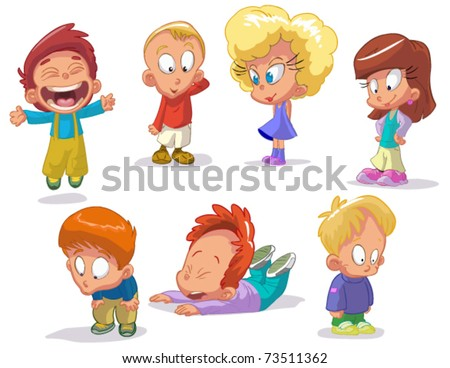 set of characters funny kids on a white background #2