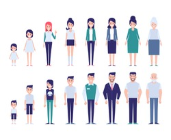Set of characters in a flat style. Men and women characters, the cycle of life.