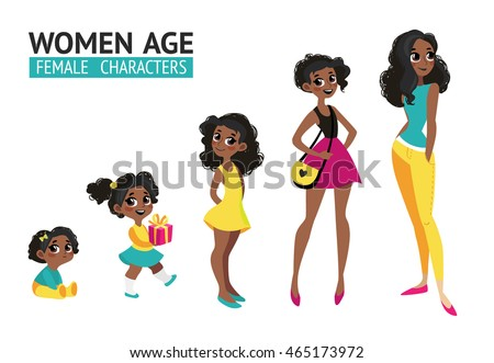Set of characters in cartoon flat style. Female characters, the cycle of life, stages of growing up from baby to woman.