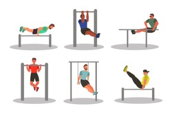Set of characters -  Men taking physical activity. Training, street workout, exercises. Active sports in a city park on the playground. Flat style vector illustration.