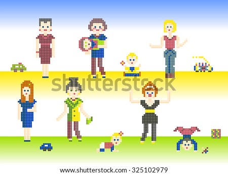 set of characters pixel people