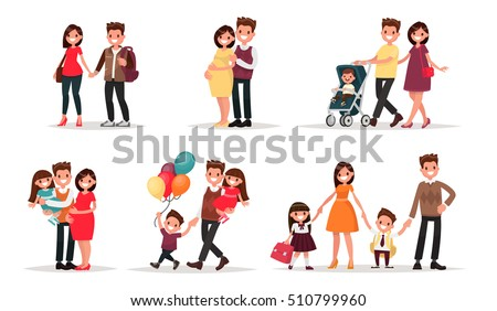 Set of characters showing the stages of development of the family. Creation, birth of children,  care and upbringing. Mother, father, daughter and son. Vector illustration in a flat style - Shutterstock ID 510799960