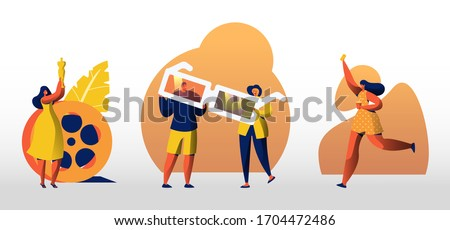 Set of Characters with Cinema and Movie Equipment 3d Glasses, Oscar Award, Ticket and Coffee Cup. Cinematography Festival, Filming Event or Film Entertainment. Cartoon Vector People Illustration